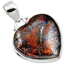 925 sterling silver 16.73cts natural brown boulder opal heart pendant r50032