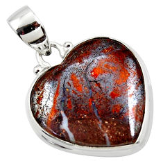 925 sterling silver 16.73cts natural brown boulder opal heart pendant r50035