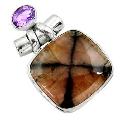 925 sterling silver 32.14cts natural brown chiastolite amethyst pendant r30556