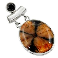 925 sterling silver 29.93cts natural brown chiastolite onyx pendant r30553