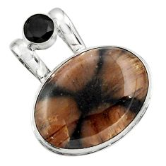 925 sterling silver 25.57cts natural brown chiastolite oval onyx pendant r31987