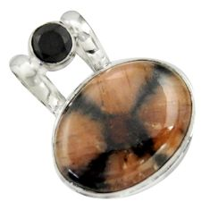 925 sterling silver 20.88cts natural brown chiastolite oval onyx pendant r41872