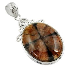 925 sterling silver 29.32cts natural brown chiastolite oval pendant r30544