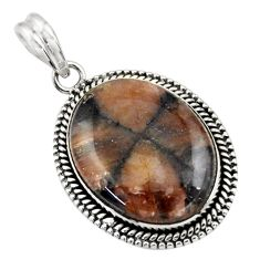 925 sterling silver 25.66cts natural brown chiastolite pendant jewelry r31992