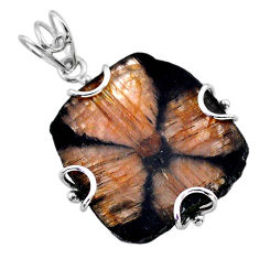 925 sterling silver 29.49cts natural brown chiastolite pendant jewelry t47937