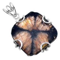 925 sterling silver 30.10cts natural brown chiastolite pendant jewelry t47957