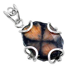 925 sterling silver 13.68cts natural brown chiastolite pendant jewelry t47975