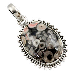 925 sterling silver 16.73cts natural brown colus fossil pendant jewelry r27769