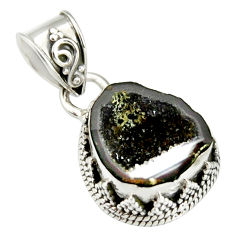 925 sterling silver 6.85cts natural brown geode druzy pendant jewelry r20190