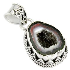 925 sterling silver 8.54cts natural brown geode druzy pendant jewelry r20193