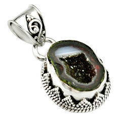925 sterling silver 7.21cts natural brown geode druzy pendant jewelry r20196