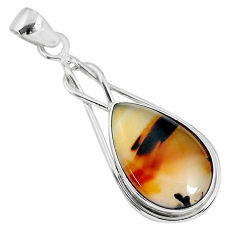 925 sterling silver 12.22cts natural brown montana agate pear pendant r94667
