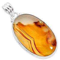 925 sterling silver 19.68cts natural brown montana agate pendant jewelry r94878