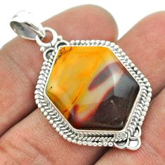 925 sterling silver 17.20cts natural brown mookaite fancy pendant jewelry t53456