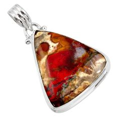 Clearance Sale- 925 sterling silver 19.23cts natural brown moroccan seam agate pendant d42140