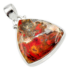 Clearance Sale- 925 sterling silver 25.00cts natural brown moroccan seam agate pendant d42231