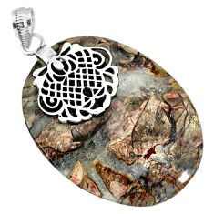 925 sterling silver 38.81cts natural brown mushroom rhyolite pendant r91390