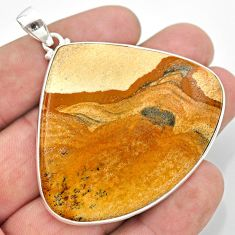 925 sterling silver 72.94cts natural brown picture jasper heart pendant t41875