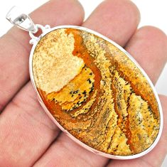 925 sterling silver 47.58cts natural brown picture jasper oval pendant t41883