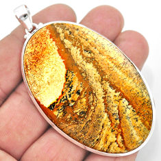925 sterling silver 57.25cts natural brown picture jasper oval pendant t41895