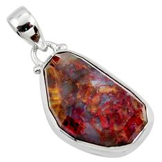925 sterling silver 15.65cts natural brown pietersite (african) pendant r51090