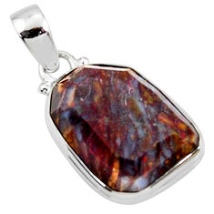 925 sterling silver 16.20cts natural brown pietersite (african) pendant r51093