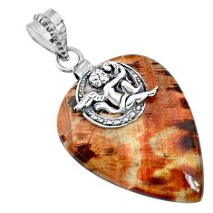 925 sterling silver 29.63cts natural brown plum wood jasper angel pendant r74554