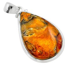 925 sterling silver 16.85cts natural brown plum wood jasper pear pendant t22467