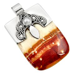 925 sterling silver 47.01cts natural brown plum wood jasper pearl pendant d45524