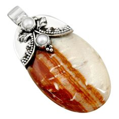 Clearance Sale- 925 sterling silver 61.14cts natural brown plum wood jasper pearl pendant d45527