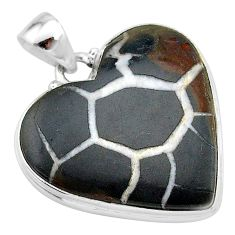925 sterling silver 30.40cts natural brown septarian gonads heart pendant t13348