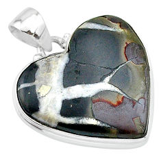 925 sterling silver 24.00cts natural brown septarian gonads heart pendant t13353