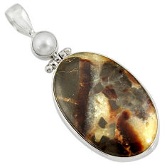 925 sterling silver 28.27cts natural brown septarian gonads pearl pendant d41494