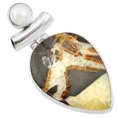 925 sterling silver 24.00cts natural brown septarian gonads pearl pendant r72845