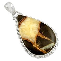 Clearance Sale- 925 sterling silver 28.73cts natural brown septarian gonads pendant d41537