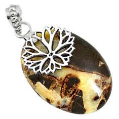 Clearance Sale- 925 sterling silver 27.71cts natural brown septarian gonads pendant r91431