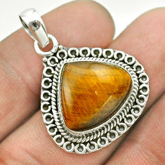 925 sterling silver 9.63cts natural brown tiger's eye heart pendant t53203