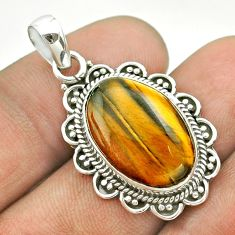925 sterling silver 11.23cts natural brown tiger's eye oval pendant t53218