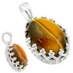 925 sterling silver 6.91cts natural brown tiger's eye oval shape pendant t20478