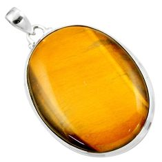 925 sterling silver 30.44cts natural brown tiger's eye pendant jewelry r53959