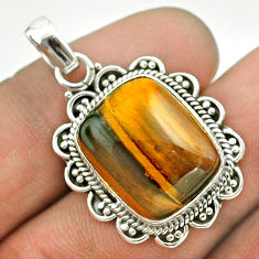 925 sterling silver 12.34cts natural brown tiger's eye pendant jewelry t53198