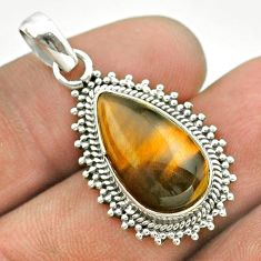 925 sterling silver 7.50cts natural brown tiger's eye pendant jewelry t53200