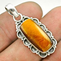 925 sterling silver 7.04cts natural brown tiger's eye pendant jewelry t53206