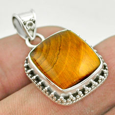925 sterling silver 11.95cts natural brown tiger's eye pendant jewelry t53211
