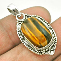925 sterling silver 7.89cts natural brown tiger's eye pendant jewelry t53216
