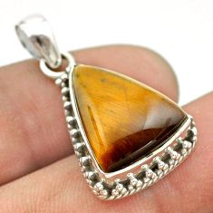 925 sterling silver 11.23cts natural brown tiger's eye pendant jewelry t53324
