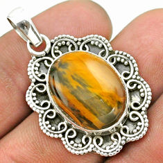 925 sterling silver 12.83cts natural brown tiger's eye pendant jewelry t53385