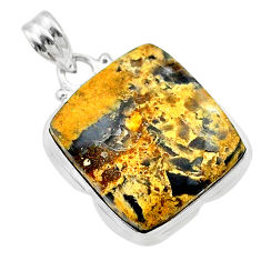 925 sterling silver 16.20cts natural brown turkish stick agate pendant t22719