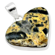 925 sterling silver 18.70cts heart brown turkish stick agate pendant t22968