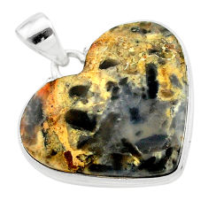 925 sterling silver 24.41cts heart brown turkish stick agate pendant t22979
